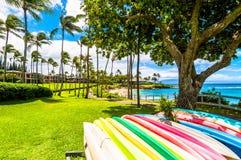 毛伊的著名Kaanapali海滩胜地区域 免版税库存图片