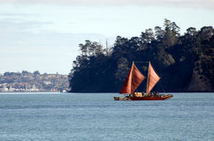 毛利人二重船身独木舟 库存照片
