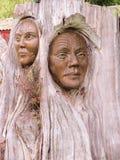毛利人木雕塑 免版税库存照片