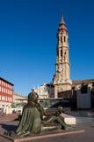 毛发的正方形,萨瓦格萨,西班牙 库存照片