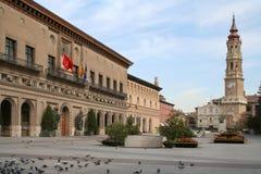 毛发的西班牙方形萨瓦格萨 免版税图库摄影