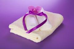 毛巾和集合沐浴的 免版税库存图片