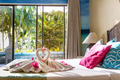 毛巾装饰在旅馆客房,毛巾鸟,天鹅,室interio 库存照片