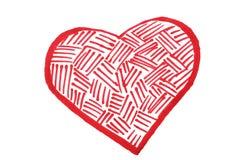 毛毡笔绘的心脏 库存照片