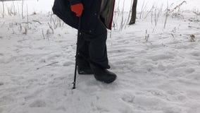 毛毡起动人佩带的valenkikind的低部走在一条积雪的小径的 股票视频