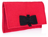 毛毡,纺织品,妇女` s提包,有弓的钱包在颜色, bl 库存图片