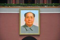 毛泽东纵向天安门的 免版税库存照片