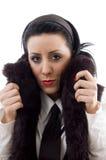 毛皮夹克妇女年轻人 图库摄影