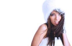 毛皮女孩佩带的空白冬天 免版税库存照片