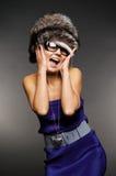 毛皮女孩帽子惊奇了 免版税库存照片