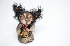 毛皮女用连杉衬裤疯狂的狗宠物小的小狗玩偶 库存图片