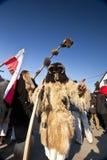 毛皮的狂欢节戴假面具的人在'Busojaras',冬天的葬礼狂欢节  免版税库存照片