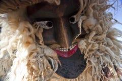 毛皮的狂欢节戴假面具的人在'Busojaras',冬天的葬礼狂欢节  库存图片
