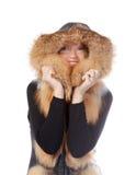 毛皮的美丽的妇女修整夹克 免版税库存照片