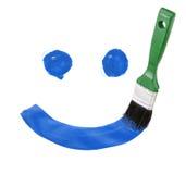 毛笔画油漆微笑 皇族释放例证