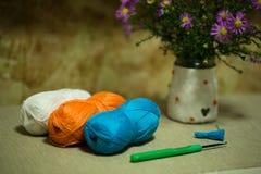 毛线、绿色钩针和花花束球  库存照片