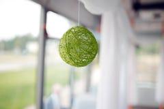毛线一个绿色球  库存图片