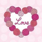 毛线球心脏 日s华伦泰 桃红色背景 向量例证