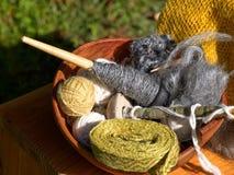 毛线羊毛的选择 库存照片