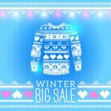 毛线衣。销售冬天例证。为冬天设计使用 库存照片
