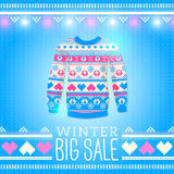 毛线衣。销售冬天例证。为冬天设计使用 免版税库存照片