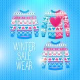 毛线衣。销售冬天例证。为冬天设计使用 免版税图库摄影