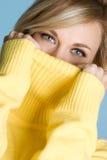 毛线衣佩带的妇女 免版税库存图片