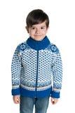 毛线衣的年轻男孩 图库摄影