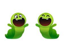 毛虫快乐的微笑和享受两个类型 免版税库存图片