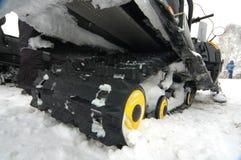 毛虫照片雪上电车 库存图片
