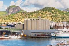 毛里求斯大块糖终端在路易港 免版税图库摄影