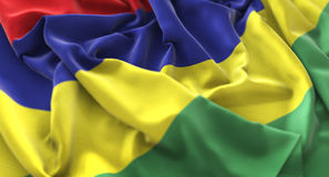 毛里求斯旗子被翻动的美妙地挥动的宏观特写镜头射击 免版税库存照片