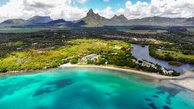 毛里求斯海岛,风景鸟瞰图 库存图片