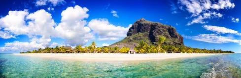 毛里求斯海滩全景 免版税库存图片