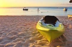 毛里求斯海滩日落  免版税库存图片