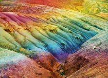 毛里求斯- 23个颜色地球。风景在一个晴天 免版税图库摄影