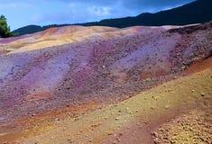 毛里求斯Chamarel-七的主要视域上色土地 库存照片