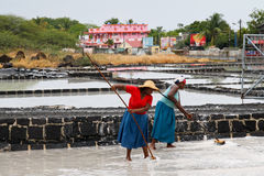 绢毛猴,毛里求斯- 10月30 :两名未认出的妇女desalina 图库摄影