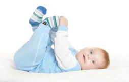 毯子的可爱的男婴 图库摄影