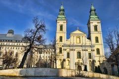 贫民区教区教堂在布达佩斯,匈牙利 库存照片