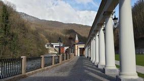民族志学公园在高加索山脉中的Krasnaya Polyana 库存照片