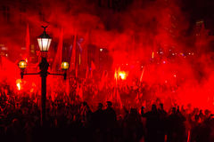 民族主义者抗议在克拉科夫的中心 大约3 000个人在自由波兰的3月参与了 免版税库存照片