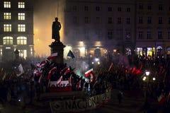 民族主义者抗议在克拉科夫的中心 大约3 000个人在自由波兰的3月参与了 免版税图库摄影