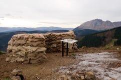 民用西班牙战争 Elgeta巴斯克机枪位置` La Belga ` 库存照片
