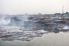 贫民窟在拉各斯尼日利亚 免版税库存照片