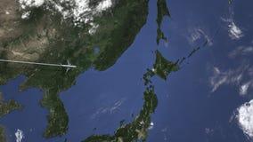 民航飞机到达到札幌,日本,介绍3D动画 向量例证