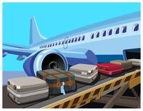 民航飞机和行李 皇族释放例证