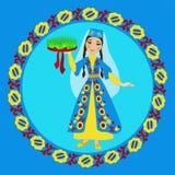 民间服装的克里米亚半岛鞑靼人的女孩有sabzeh的 图库摄影