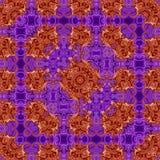 民间样式装饰品、传统刺绣、作用丝绸地毯在紫罗兰和桃红色 免版税库存照片