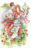 民间舞。 传统衣裳的女孩和男孩 免版税库存照片